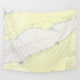 Vintage Map of Lake Erie (1955) Wall Tapestry