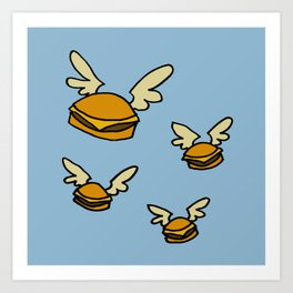 flying cheeseburgers Art Print