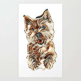Portrait of a small dog (Norwich Terrier). The dog stands on its hind legs with its tongue hanging o Art Print