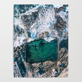 Ocean Waves Rock Pool Poster