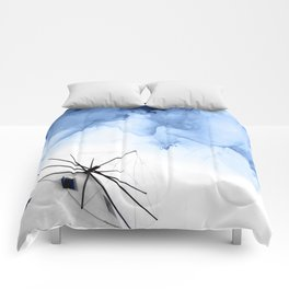 Blue Abstract Painting, Windmill Photography Comforters