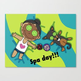 A Paco's Life - SPA DAY - Chihuahua Art for kids, colorful art prints Canvas Print