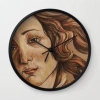 venus Wall Clocks featuring Venus  by Ashley Anderson