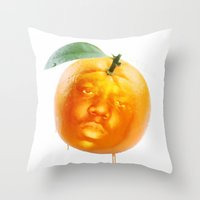 biggie smalls Throw Pillows featuring Biggie Smalls always Juicy V2 by Razorface