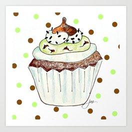 Chocolate Mint Cupcake Art Print