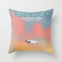Exmoor National park vintage travel poster. Throw Pillow