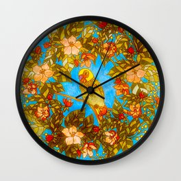 Colourful Yellow Parakeet In Flowery Wreath Wall Clock