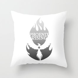 PHOENIX RISING grey with flames and star center Throw Pillow