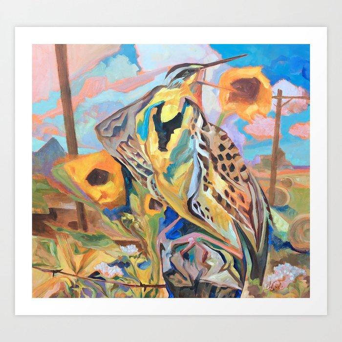 Meadowlark With Sunflowers Art Print