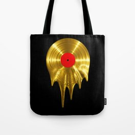 Melting vinyl GOLD / 3D render of gold vinyl record melting Tote Bag