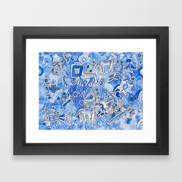 Delft Blue and White Pattern Painting with Lions and Tigers and Birds Framed Art Print