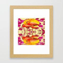 TROPICAL FLAMINGOS FUCHSIA FLORAL MOON ART Framed Art Print