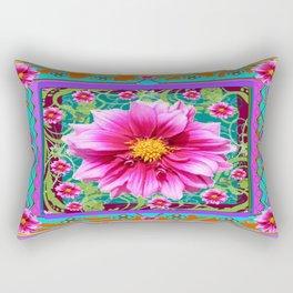 Turquoise-Pink western Fuchsia Dahlias Garden Art Rectangular Pillow