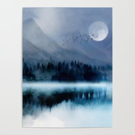 Mountainscape Under The Moonlight Poster
