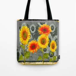 GREY GRUBBY SHABBY CHIC STYLE SUNFLOWERS ART Tote Bag