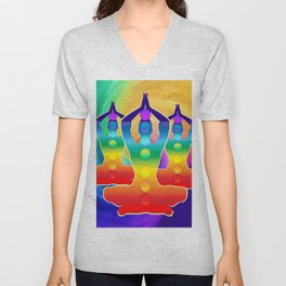 TRIPLE Om Meditation Mantra Chanting DESIGN Unisex V-Neck