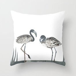 Flamingos in Silvery Blue Throw Pillow
