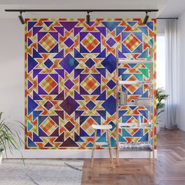 Multicolor Pattern, Including: Cerulein, Electric Violet, Mountain Meadow, Persian Blue + See Below Wall Mural