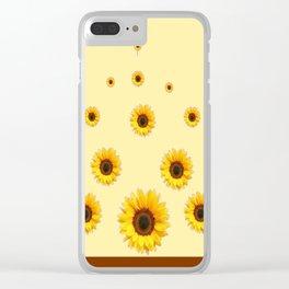 RAINING SUNFLOWERS FLOWERS CREAMY BROWN ART Clear iPhone Case