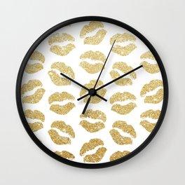 Gold Glitter Lips Wall Clock