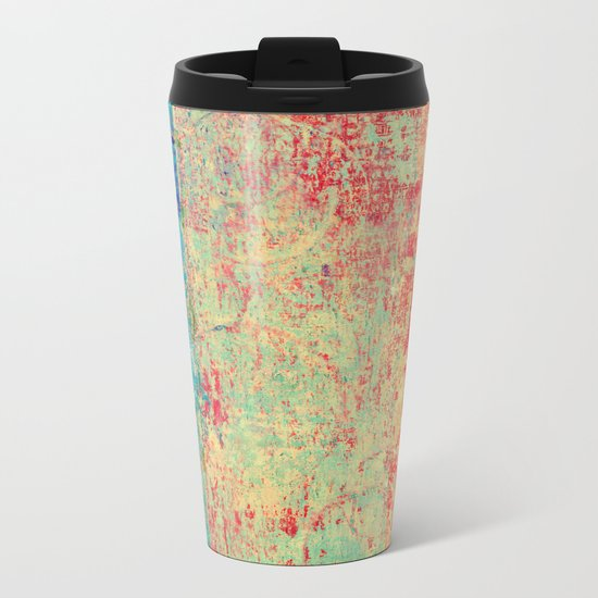 Brilliant Encounter, Abstract Art Turquoise Red Metal Travel Mug