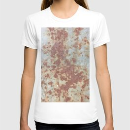 brown rusty surface with blue background T-shirt