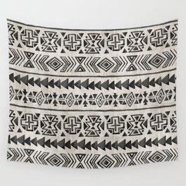Boho Tribal Black & Cream, Geometric Print, Ink Tribal Decor Wall Tapestry