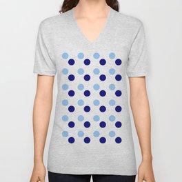 new polka dot 15- blue Unisex V-Neck