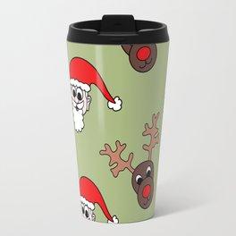 Santa and Rudolf Christmas Print Travel Mug