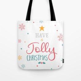 Have A Jolly Christmas Star Mistletoe Tote Bag