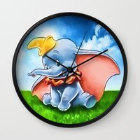dumbo Wall Clocks featuring Dumbo by DisPrints
