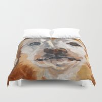 gemma correll Duvet Covers featuring Gemma the Golden Retriever by Barking Dog Creations Studio