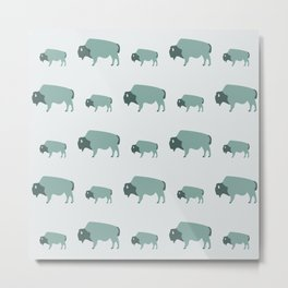 Bison And Baby (Moss) Metal Print
