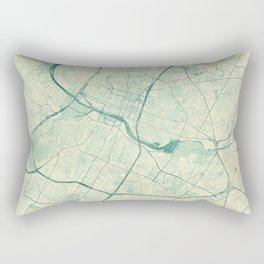 Austin Map Blue Vintage Rectangular Pillow