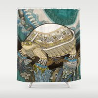 turtle Shower Curtains featuring Turtle by Yuliya