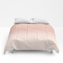 Rose gold faux glitter pink ombre color block Comforters