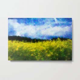 Yellow field and blue sky Metal Print