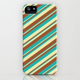 Sienna, Light Sea Green, and Pale Goldenrod Colored Stripes/Lines Pattern iPhone Case