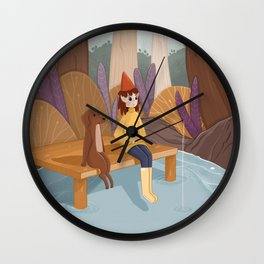 Cute girl and her dog fishing together Wall Clock