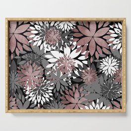 Pretty rose gold floral illustration pattern Serving Tray