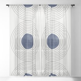Geo Blue Balance Sheer Curtain