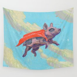 flying pig - by phil art guy Wall Tapestry