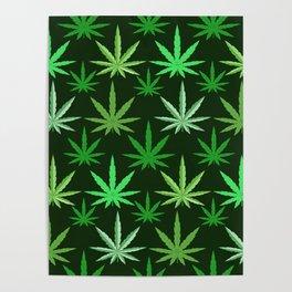 Marijuana Green Leaves Weed Poster