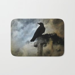 Stormy Clouds And Crow Bath Mat