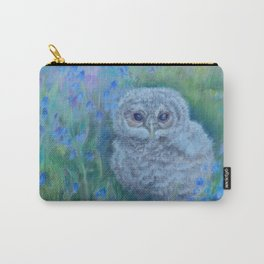 CUTE OWL on the spring meadow Wildlife bird Blue flowers Landscape Carry-All Pouch