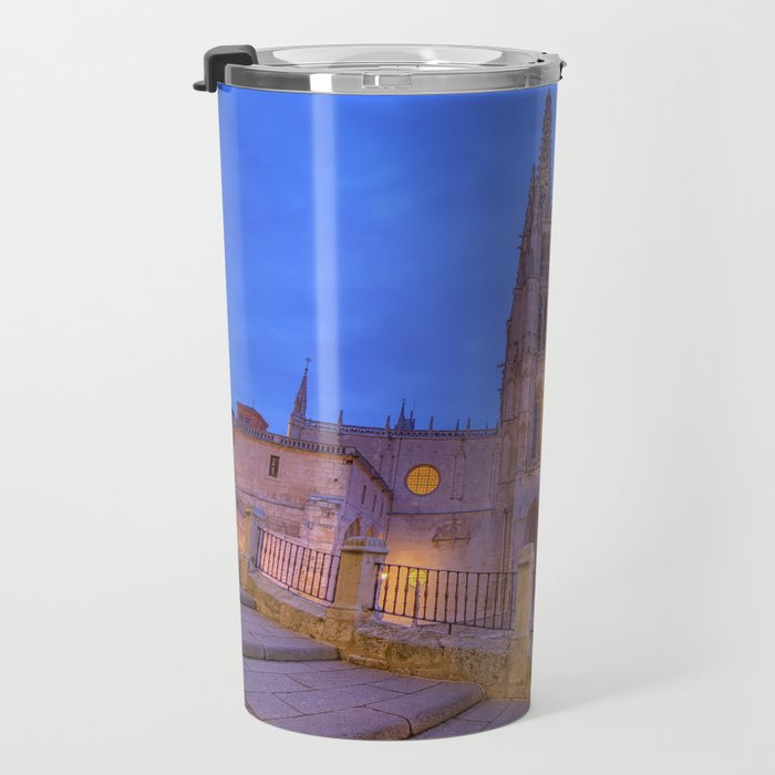 Night view of Burgos Cathedral in Spain. Travel Mug