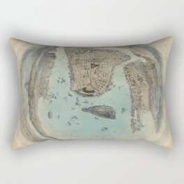 Vintage Circular Pictorial Map of NYC (1859) Rectangular Pillow