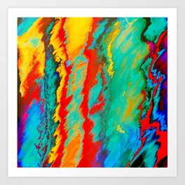 Yellow, Red, Blue Abstract Art Print