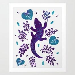 Purple and teal crocodile Art Print