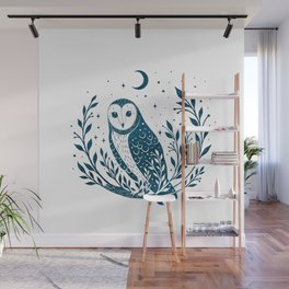 Owl Moon - Blue Wall Mural